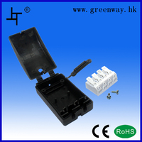 Greenway factory price black plastic cable junction box for 3 socket