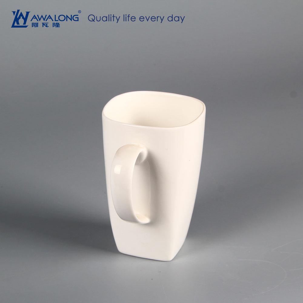 600ml Square Shape Pure White Large Coffee Mugs For Sale
