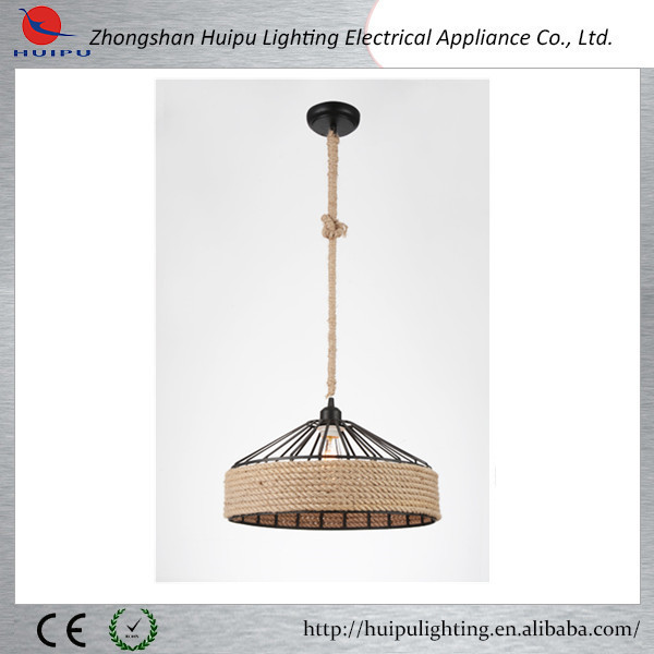 Industrial design E27 40W hemp rope single light pendant lamp
