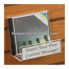 ACRYLIC CD/DVD SLATWALL SHELF WITH SIGN HOLDER