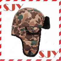 Unique fabric camouflage custom earflap trapper ski army hat