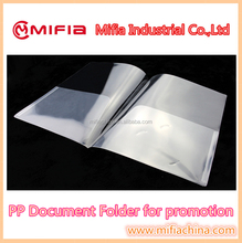 A4 pp cheap plastic document file folder for promotional folder gift