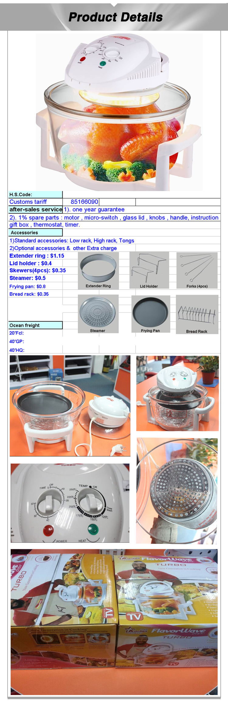 High quality Multi -function halogen convection oven