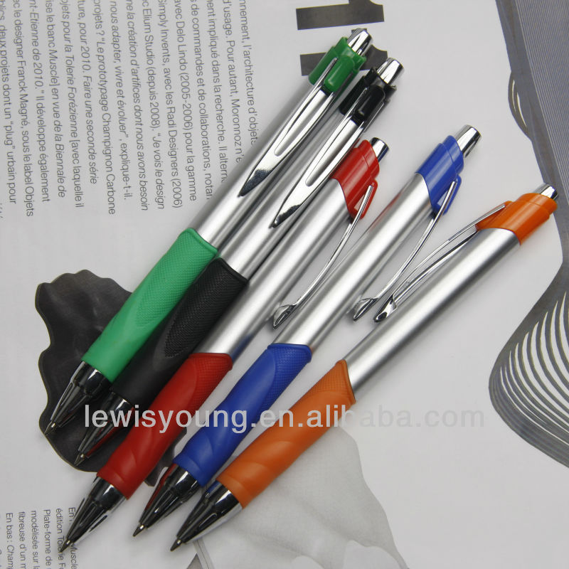 Cheap promotional plastic ball pointed pen with handguard plastic