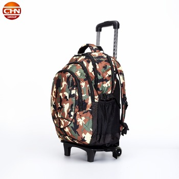 Camouflage trolley wheeled bag travel duffle bag school backpack 2018