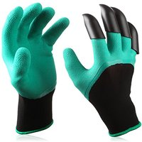 Premium Natural Latex Rubber Garden Genie Gloves with Right Hand Fingertip Claws for Digging, Raking and Hands Protection