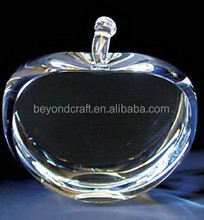 blank glass small crystal apple paperweight