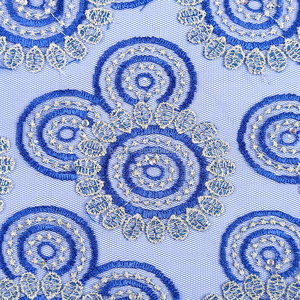 Women fantastic embroidery nigeria laces royal blue and silver high quality cord lace fabric water soluble lace fabric for dress