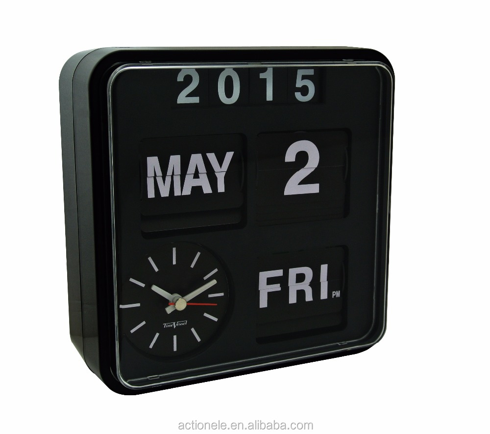 Jumbo wall auto flip clock with calendar and sweep 1688 clock movements