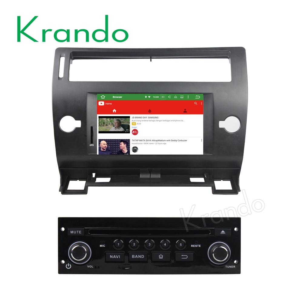 Krando Android 7.1 car navigation radio gps dvd player for Citroen C4 Quatre 2004-2012 car multimedia player 2g ram KD-CT741
