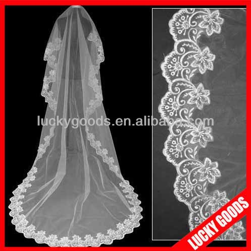 2014 hot sale long white/ivory lace cathedra wedding veil