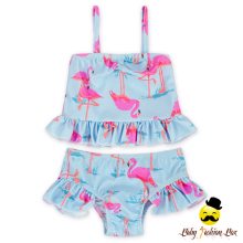 YZA-022 Yiwu Yihong Lovely Girls Bathing Suit Ruffle Tops And Smocking Short Pants Toddle Girls Bikini