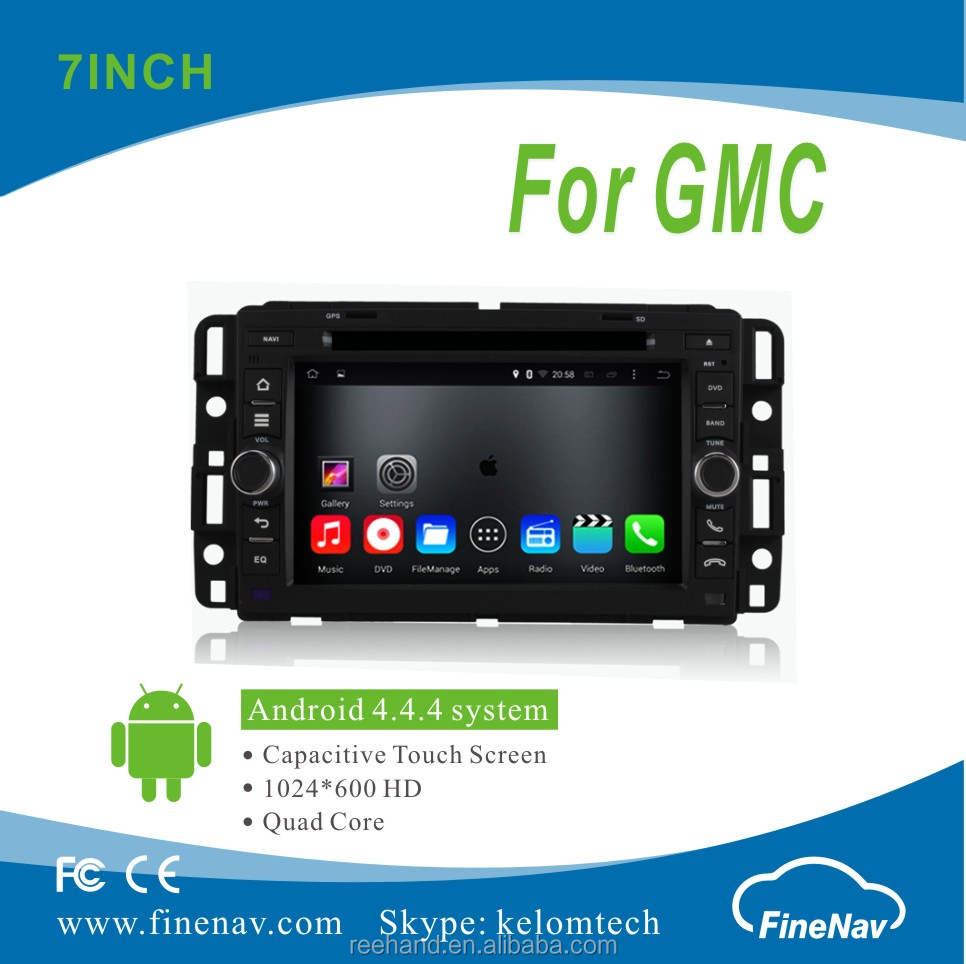 "7"" Android 4.4.4 Car DVD player with Quad-core 1024*600 Resolution 16GB Flash Mirror Link for GMC"