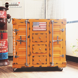 Vintage Industrial Custom Metal Container Storage Furniture