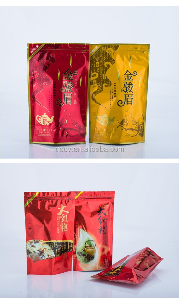 Lamination Material Stand Up Zipper Black Tea Bags , Custom Printed Resealable Pouch Packaging