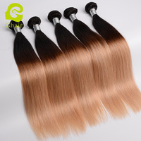 Ghairs Best Selling Unprocessed Human Virgin Hair Ombre 3 Tone Brazilian Hair Extension 1B#427 Bundles