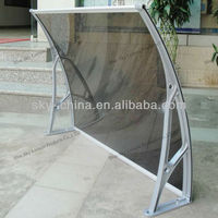 High impact strength aluminum wind resistant canopy with stainless steel