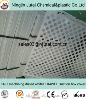 CNC machining drilled white UHMWPE suction box cover