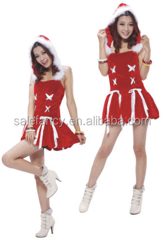Sexy Hot Lady Women Christmas Red Santa Claus Fur Hood Costume Outfit Dress QAWC-2074