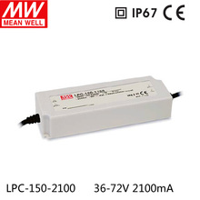 Meanwell IP67 Waterproof LED Driver 2100mA 36-72V LPC-150-2100 for LED Strip Lights