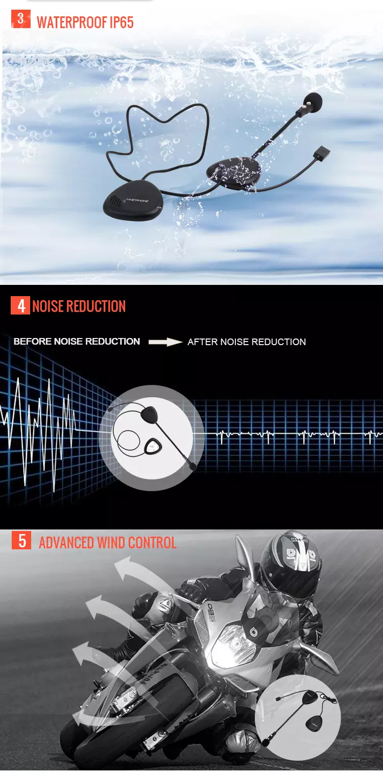 V1-2 Radio Bluetooth Headset Noise Cancelling BT Wireless Earphone Headphone