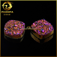 Wuzhou quality factory sell rose red colored druzy stone beads wholesale
