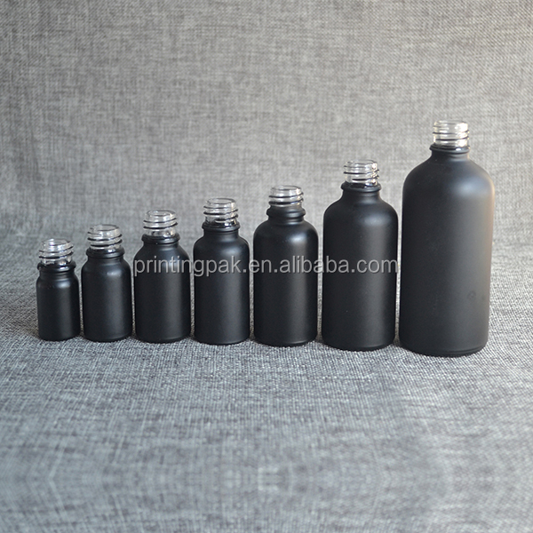 Wholesale 10ml 15ml 30ml 50ml 100ml round glass black matte dropper bottle for essential oil e juice e liquid packaging