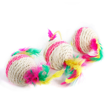 top ten pet products popular feather ball cat toys with rope