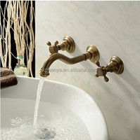 Two handles antique brass mixer faucet, wall mounted bathroom faucet