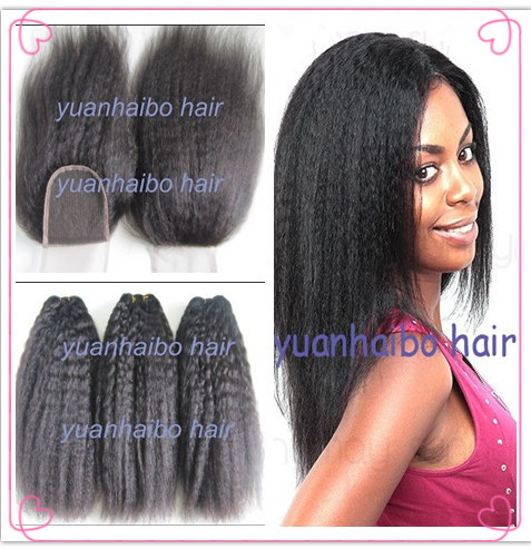 Top quality 4pcs/lot, #1b virgin brazilian human hair kinky straight hair weaves with lace closure for balck woman
