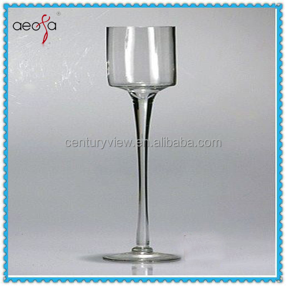 Tall clear wine shaped glass vase for wedding centerpiece