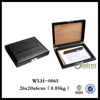 Cigar Design Wooden Leather Case