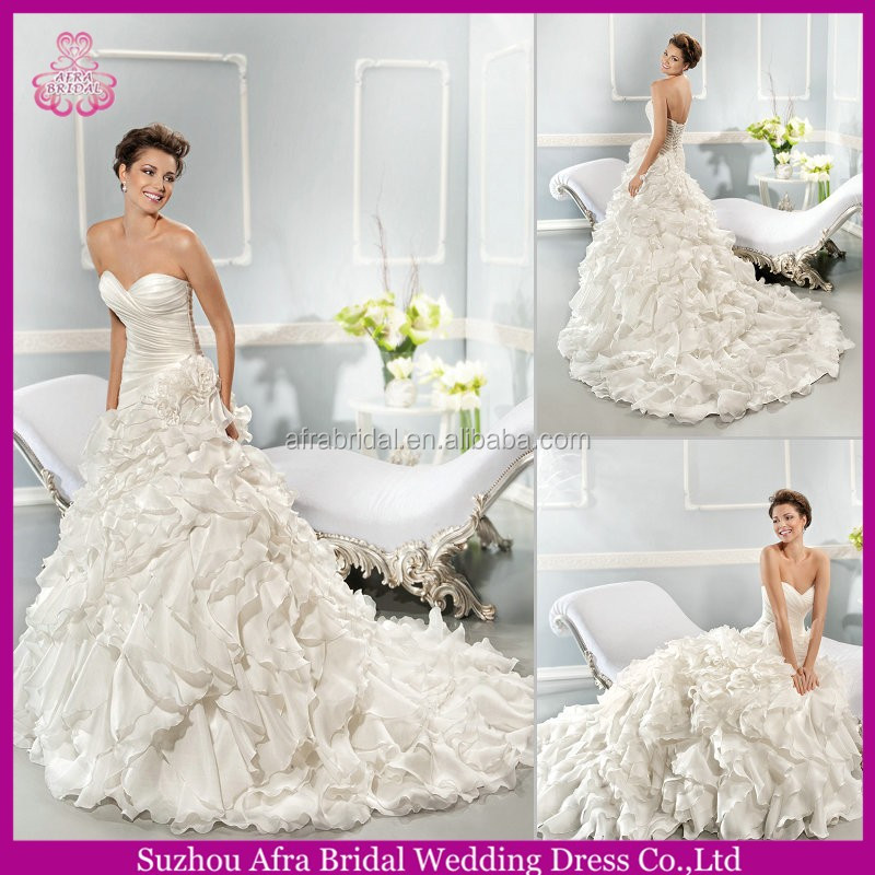 QQ1631 layered organza bridal wedding gown discount wedding dress organza ruffles skirt