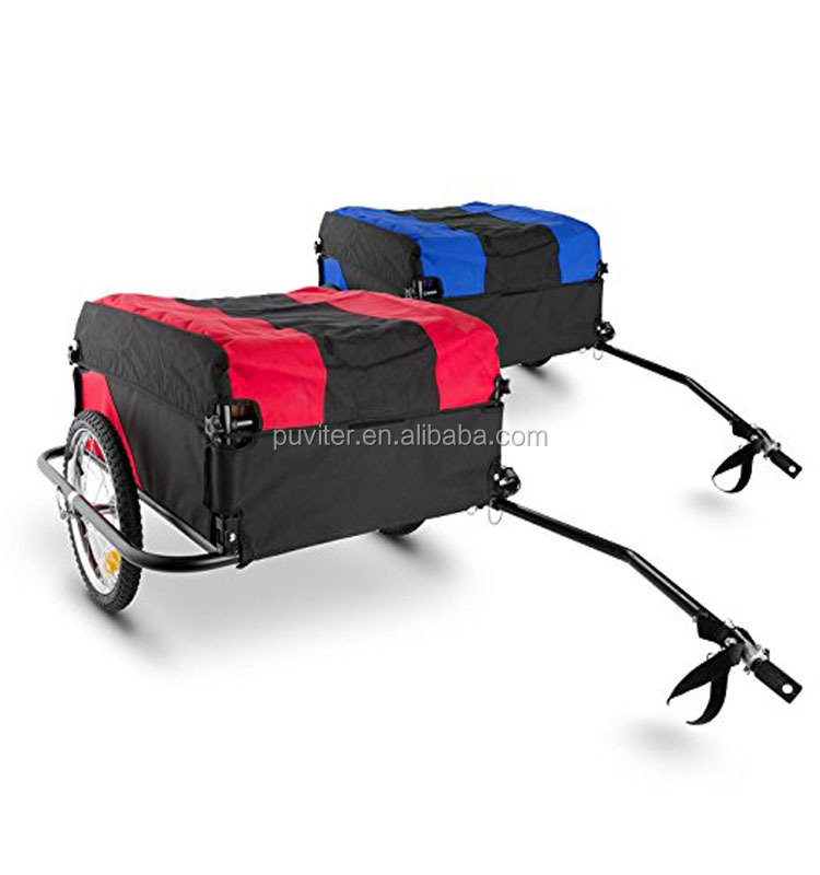 Lightweight Folding Black / Red Bicycle Cargo trailer Dog Pet Bicycle Trailer carries 100Kg
