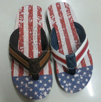 2016 Printing american flag EVA beach slipper flip flop sandals for men