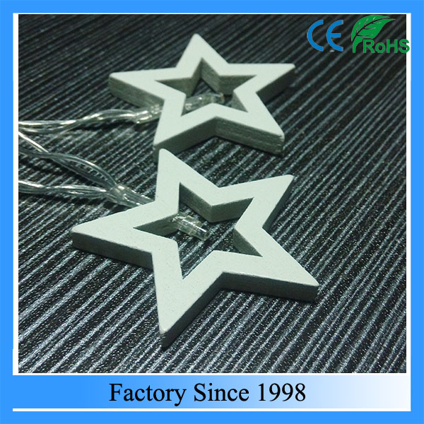 wooden star christmas decorations, christmas led string lights, home decoration light string with wooden star shape