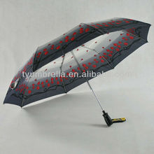 3 fold auto close rose design fabric lady umbrella