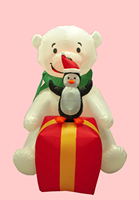 180cm/6ft polyester inflatable Christmas penguin standing on giftbox and polar bear advertising