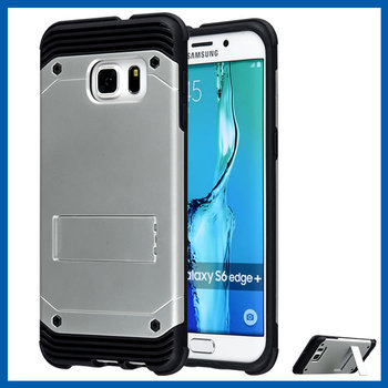 C&T Silver Premium Hybrid Dual Layer Armor Defender Case For Samsung Galaxy S6 Edge Plus With Kickstand