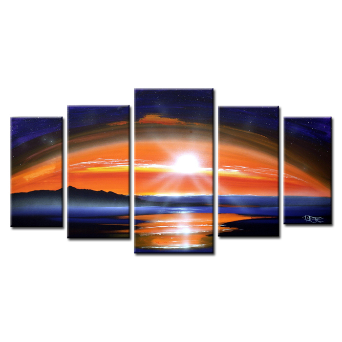 Most popular 5 Panel Modern Handmade Oil Sunset Seascape Painting on Canvas