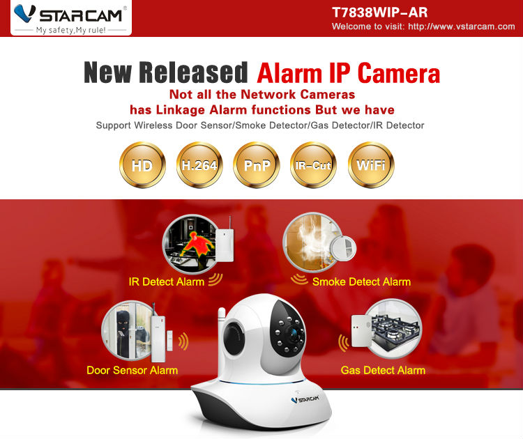 with pir,smoke/gas leak detector window/door alarm T7838WIP-AR wireless hd ipcam ipcamera cell phone controlled remote camera