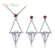 Fashionable Design Pearl Jewelry Set With 18K White Gold AAA Natural Real Akoya Pearl Red Jaspis