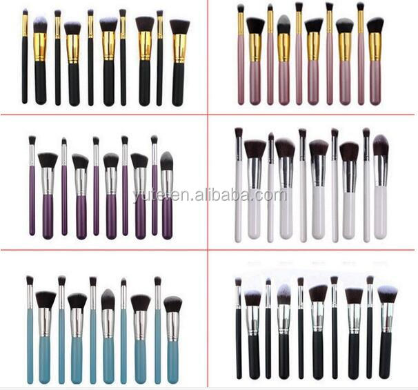 Free shipping Alibaba Best private label 10pcs synthetic kabuki professional makeup brushes with Black+ Silver