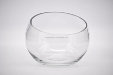 Wheasales Oval Large Glass Vase / Glass Fish Bowl With Oblique Mouth