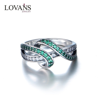 Hotsale 925 Sterling Silver Emerald Band Ring For Women Jewelry