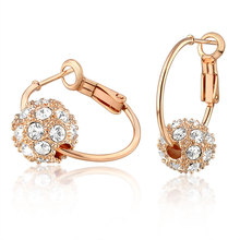 hot new products women gold plated single crystal ball drop earrings