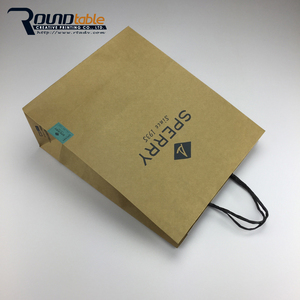 Custom Made White Shopping Kraft Paper Recycle Bag with Logo Design