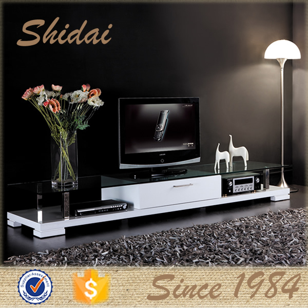 fashion tv stand glass / led tv stand glass tv table / stainless steel and glass tv stand E-113