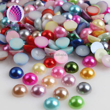 High Quality 5mm Plastic ABS Acrylic Flat Back Half Round Pearl Beads