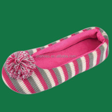 BH096304 Nice warm knitted anti slip soft sole indoor lady ballerina slippers with pom poms